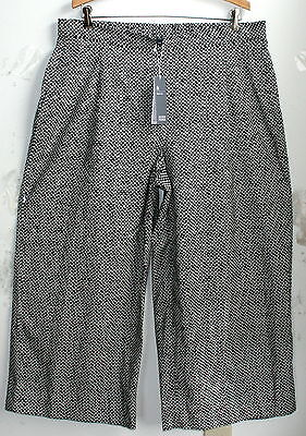 Eileen Fisher PANT     L    NWT   $158   Cropped Wide Pants   Black/White
