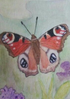 Aceo Art Card 2.5 x 3.5 inch Butterfly Nature Watercolour Pencil Painting