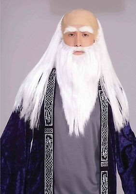 White Bald Cap (WIZARD DISGUISE SET Adult White Bald Cap Movie Character Cosplay Costume )
