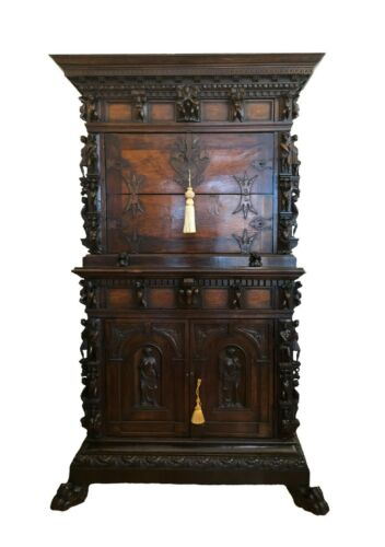 Antique Cabinet / Sideboard, Italian CarvedWalnut Renaissance Revival Lion 1700s