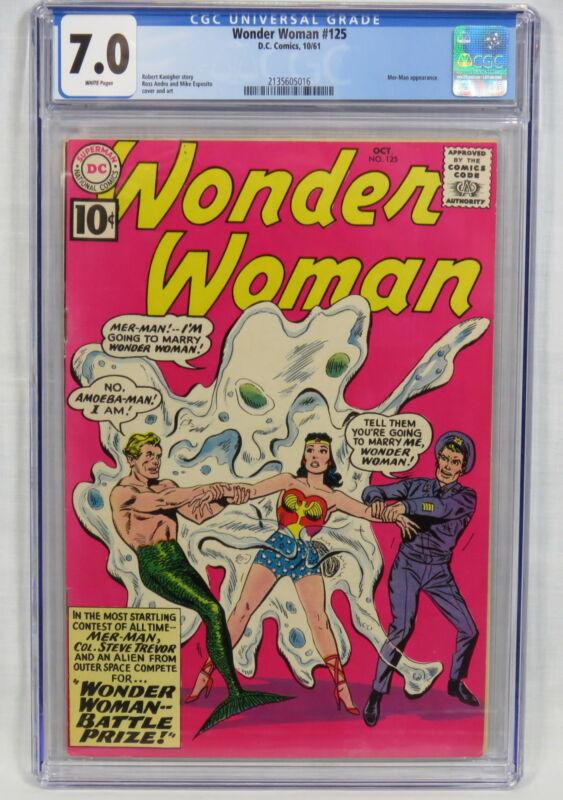 DC Comics Wonder Woman #125 CGC 7.0 Mer-Man Amoeba-Man Colonel Steve Trevor 1961