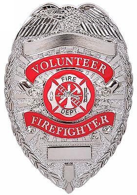 SILVER Volunteer Firefighter Metal Badges Shield Nickle plated](Firefighter Badge)