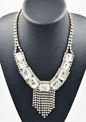 60s -70s Jewelry – Necklaces, Earrings, Rings, Bracelets Czech Crystal Rhinestone Necklace Choker 1960's Art Deco Woman Vintage Jewellery $70.51 AT vintagedancer.com