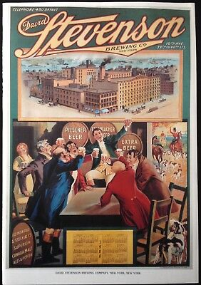 VINTAGE DAVID STEVENSON BREWING CO. NYC. 1970'S LITHO REPRO 1908 ART