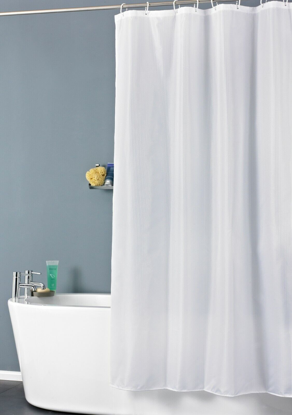 Waterproof Shower Curtains Extra Long Plain White Bathroom With 12 Hooks Ring Ebay