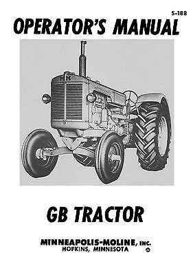 Minneapolis Moline Model Gb Tractors Operators Manual