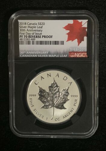 2018 $20 Canada 1 oz Reverse Proof Silver Maple PF70 FDI 30th Anniversary!