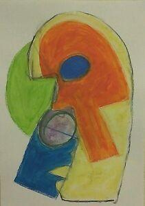 Cubisme-masques-de-theatre-nigel-waters-peinture-originale-papier-A3-abstrait-signe