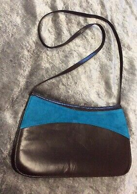 Jacques Vert Brown leather and blue suede trim Clutch/handbag