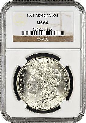 1921 $1 Morgan Silver Dollar NGC MS64