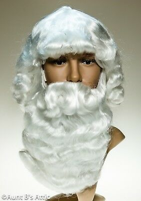 Santa Claus Wig & Beard Set White Synthetic Hair Character Costume Wig Set Beard Sets Character Wigs