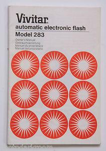 Vivitar-283-Flash-Instruction-Manual-Book-English-De-Fr-Es-1978-USED-B4-18