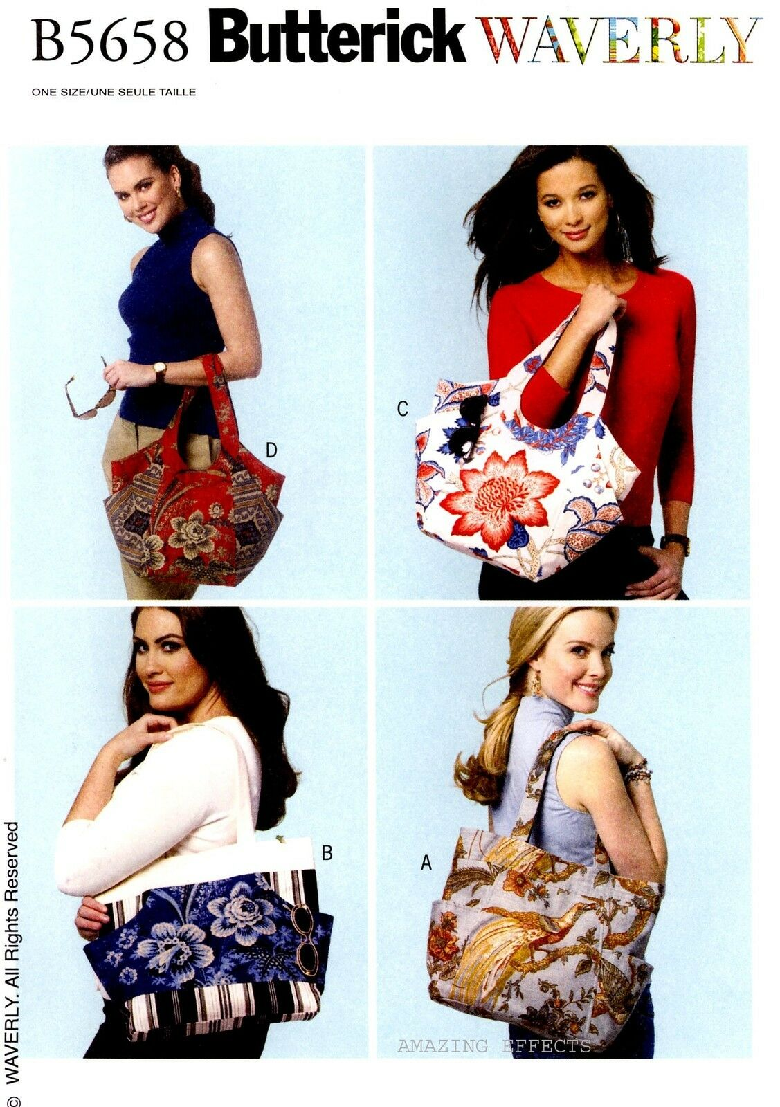 Butterick Patterns B5658 Totes, All Sizes Craft Supplies