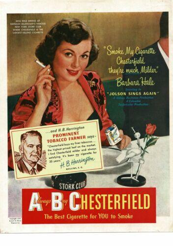 1950 CHESTERFIELD Cigarettes ABC BARBARA HALE, H.B. Harrington Vintage Ad