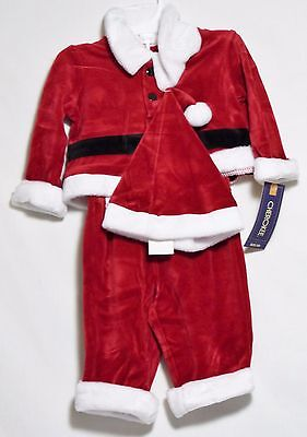 NWT Christmas Holiday Elf Outfit Baby 3 Piece Set Santa PJs Velour Red Boys 0-3M - Elf Outfit Baby