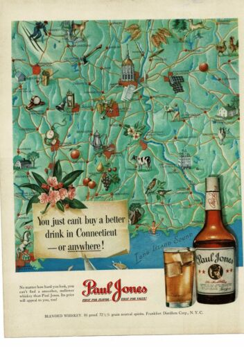 1950 PAUL JONES Whiskey Connecticut Map art Vintage Ad