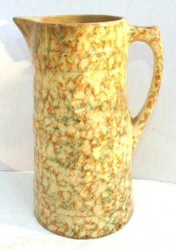 Antique Spongeware Pitcher Yellow Banded Diamond Design
