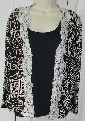 Womans Cardigan Sweater & Top Set CHICOS Size 3 SILK Black & White Lace Pearls Lace Silk Sweater