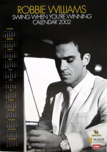 "ROBBIE WILLIAMS ""SWING WHEN YOUR WINNING CALENDAR 2002"" THAILAND PROMO POSTER"