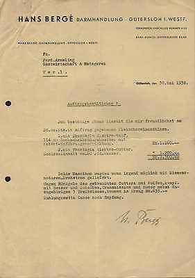 GÜTERSLOH/WESTF., Brief 1938, Darm-Handlung Hans Bergé