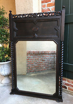 Antique French Carved Oak BARLEY TWIST Frame Trumeau Pier Wall MIRROR Jacobean  for sale  Shreveport