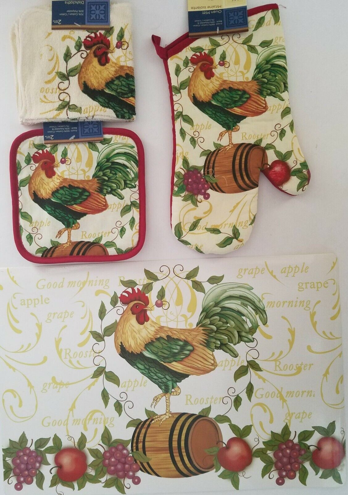Kitchen Linen & Placemats Good Morning Rooster Theme, Select