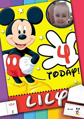 Mickey Mouse Birthday Card With PRINTED Envelope And MESSAGE Inside