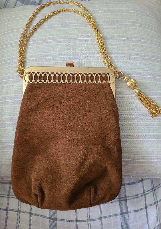 Vintage TRIANGLE NY  Preowned Brown Suede Leather Bag Purse
