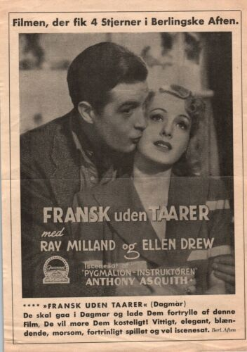 French Without Tears Ray Milland Ellen Drew Vtg 1940 Danish Movie Press Release