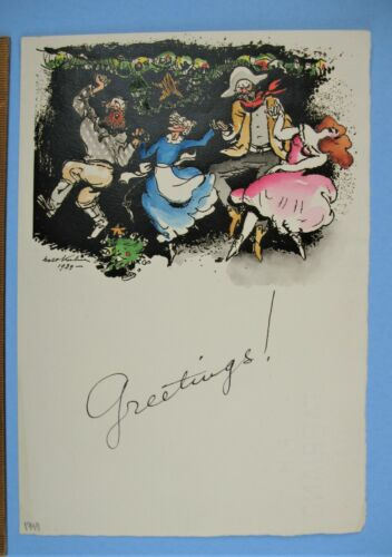 Smithsonian ties 1939 Signed Walt Kuhn Holiday Christmas Card Ink & Water Color