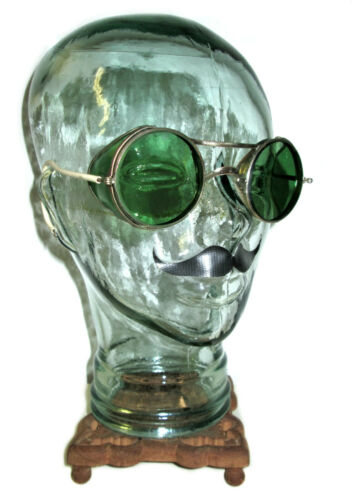 Antique American Optical Green Sunglasses Goggles Vtg Old Cool AO Safety Glasses