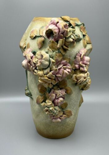 "Large Art Nouveau 12"" Roses Amphora Vase Teplitz RStK Austria"