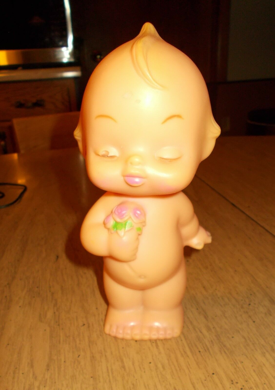 Vintage Kewpie Sleeping Lounging Molded Rubber Vinyl Baby Cupie Doll Toy Crafts - $6.97