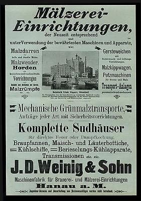 Riesige Anzeige 1903 Mälzerei-Einrichtungen J. D. Weining & Sohn Haunau Brauerei