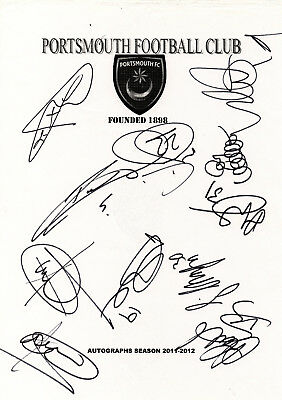 PORTSMOUTH - Multi Signed A4 Page - By 11 Players 2011/12 - FOOTBALL