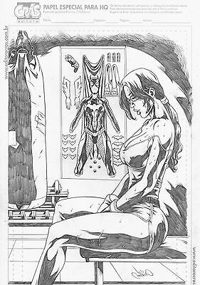 Batgirl by Leo Cordeiro - Original Comic Art Drawing Batman Harley Quinn 11x17