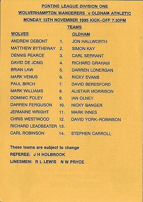 Football Programme>WOLVES RESERVES v OLDHAM ATHLETIC RESERVES Nov 1995
