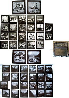 46 ALTE GLASDIAS - GLASBILDER - DER KAMPF UM DEN NORDPOL - 8,5 x 8,5 cm