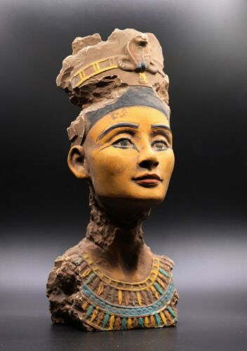 Very RARE EGYPT EGYPTIAN NEFERTITI ANTIQUES STATUE Queen Head Carved Stone BC