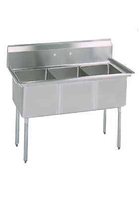 3 Compartment Stainless Steel Sink 15x15 Bowl No Drain Board - Nsf Approved
