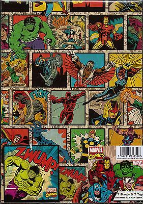 Marvel Comics Avengers 2 sheets gift wrap & 2 Hulk gift tags Wrapping Paper
