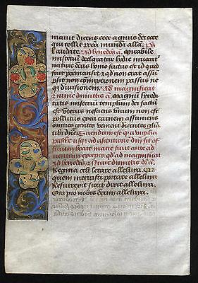 STUNDENBUCHBLATT AUF PERGAMENT (III) - schönes Original spätes 15. Jahrhundert!