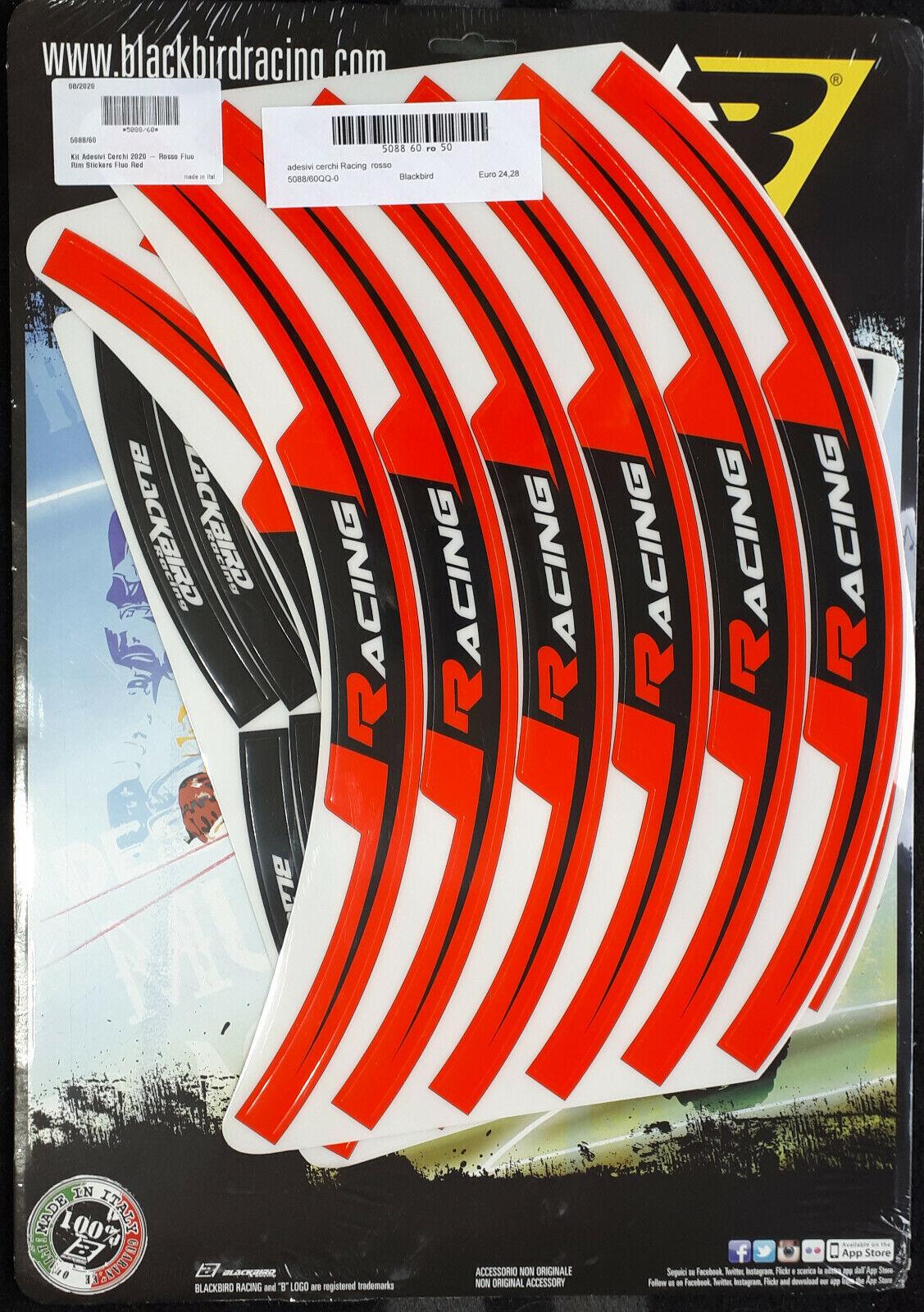 adesivi moto grafiche per cerchi in Crystal Blackbird cross enduro rosso fluo