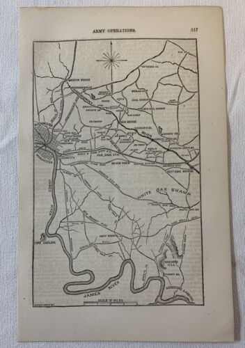1865 book leaf map ~ RICHMOND, VA AND THE WHITE OAK SWAMP