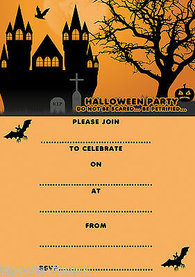 Write your own Halloween Party Invitations x 20 A5 with envs Haunted House H0013](Halloween Party Writing)
