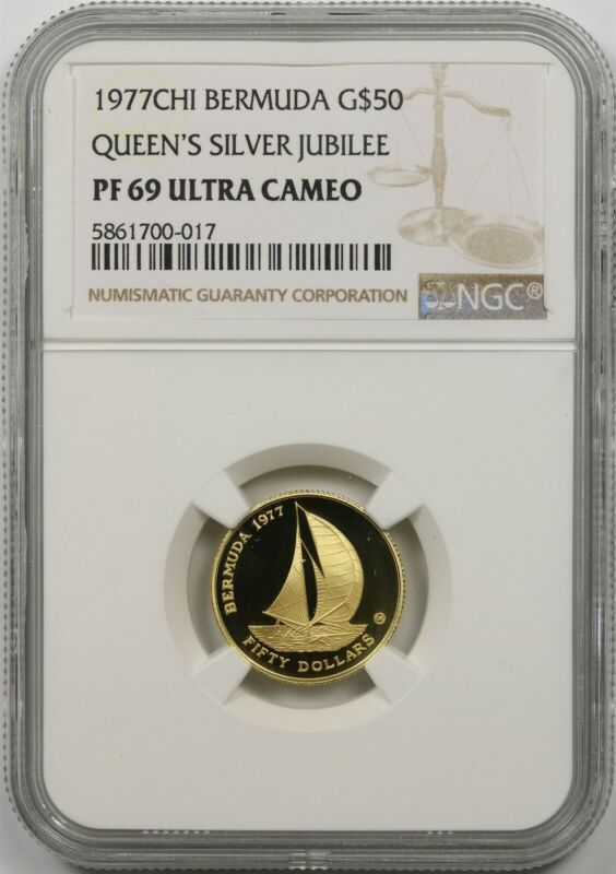 1977CHI Bermuda Gold $50 NGC PF 69 Ultra Cameo (Queen