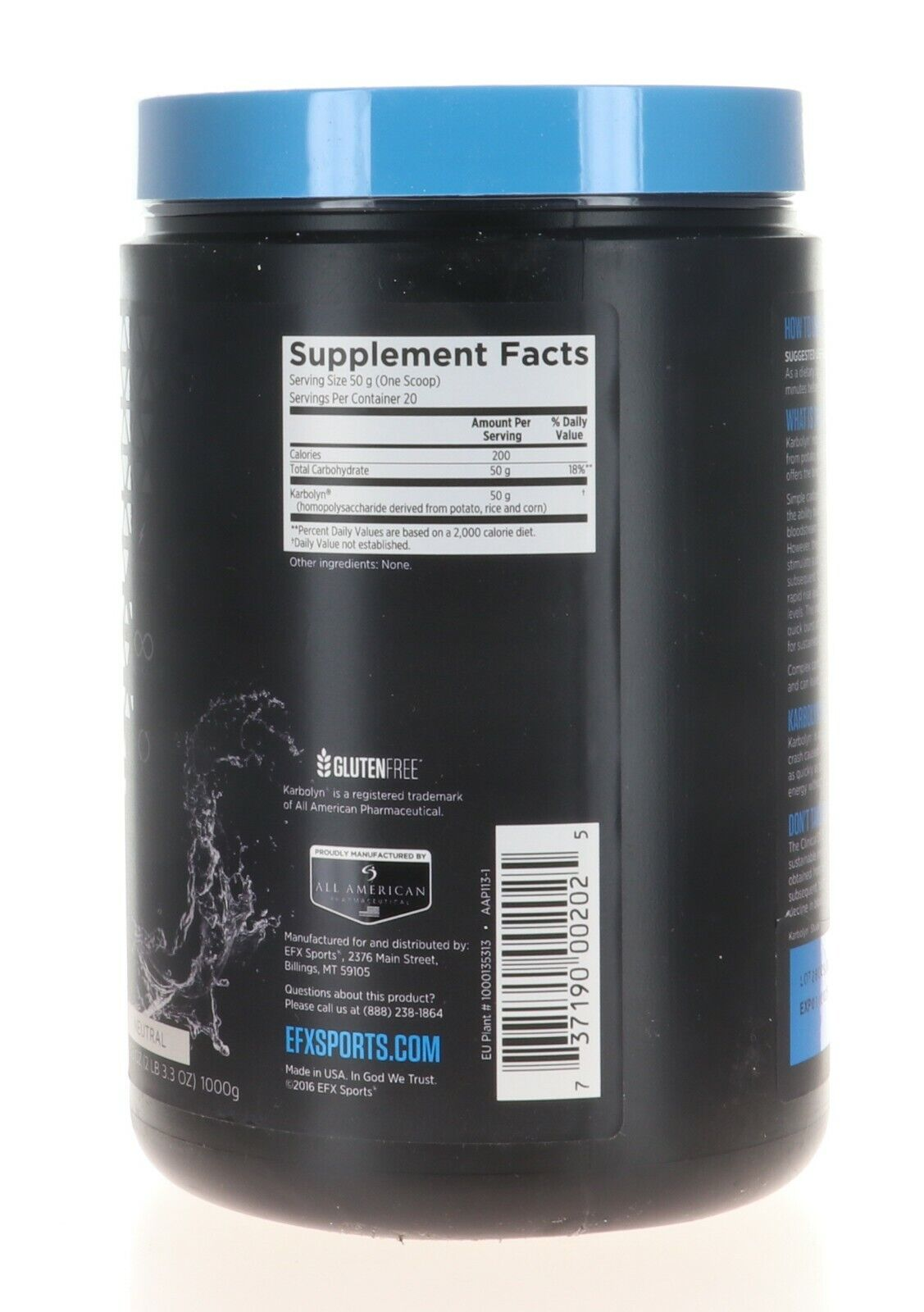 EFX Sports KARBOLYN FUEL 2.2 LB NEUTRAL FLAVOR 1