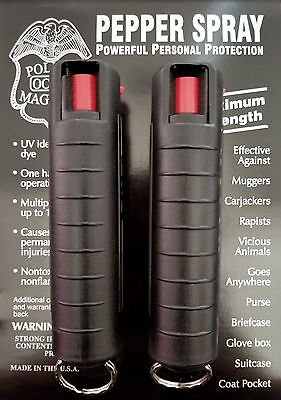 2 Police Magnum mace pepper spray .75oz black molded keychain defense protection