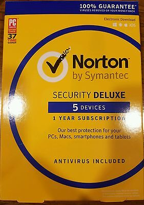 Brand New Symantec Norton Security With Antivirus Deluxe   5 Devices Key Card