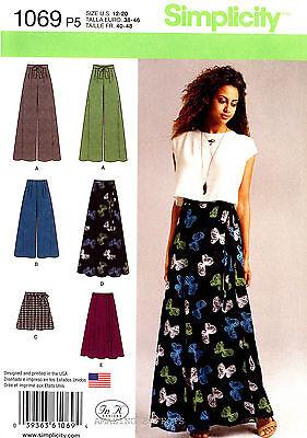 Simplicity Sewing Pattern 1069 Women's 12-20 wide leg Pants Shorts wrap Skirt